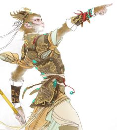 """""""And you can just fuck right off good sir. Character Concept, Character Art, Chinese Armor, Chinese Mythology, Journey To The West, Into The West, Chinese Brush, Monkey King, Chinese Culture"""
