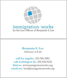 I wanted to make something simple and easy to read,and also showcase the firm logo and the international  focus of an immigration practice.  Self Designed.
