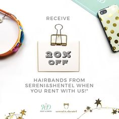 July is a very special month for us as we celebrate our 1st anniversary! Our first surprise for July? Our RAD ladies receive 20% off @sereniandshentel hairbands* this July upon renting any of our dresses this month. [*Promo is valid from 1st - 31st July 2015, and does not apply to S&S gift sets.]