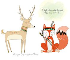 Tribal animals Woodland Clipart Animals clipart by HandMek
