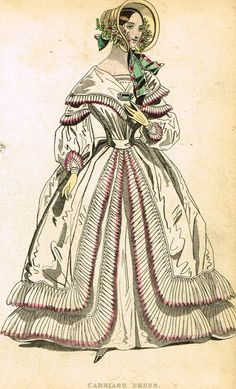 """Lady's Cabinet Fashion Print - c1840 - """"""""CARRIAGE DRESS"""""""" - Hand-Colored Copper Engraving"""
