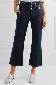 See by Chloé - Cropped Lace-up High-rise Flared Jeans - Dark denim - 27