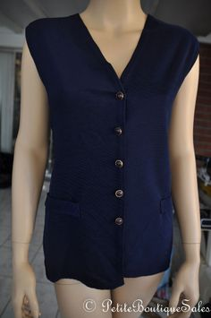 VINTAGE BLUE BUTTON UP SHIRT SLEEVELESS BLOUSE SIZE L WOMEN'S CLOTHING #TRYONUSA #KnitTop #Casual