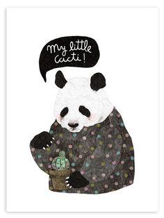 Cacti Panda Print
