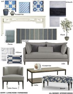 Yorba Linda, CA Entry + Living Room Furnishings Concept Board.