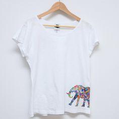 Handmade, handpainted tshirt, elephants - front side