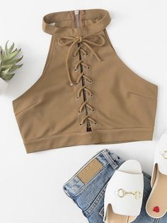 Shop Eyelet Lace Up Zip Up Back Top at ROMWE, discover more fashion styles online. Teen Fashion Outfits, Edgy Outfits, Cute Casual Outfits, Look Fashion, Outfits For Teens, Cute Summer Outfits, Pretty Outfits, Girl Fashion, Womens Fashion