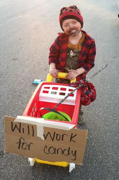 DIY Homeless Man costume complete with buggie & all
