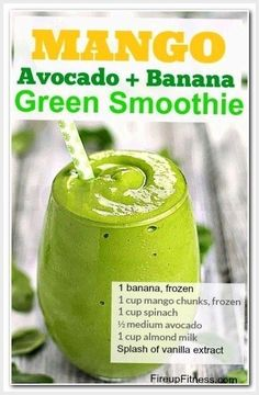 Mango Green Smoothie for Weight Loss This is a perfect blend of fruits and greens that will for sure tickle your taste buds. It is tasty and good for you if… - Mango Avocado Green Smoothie for Weight Loss Smoothies Vegan, Green Smoothie Recipes, Juice Smoothie, Smoothie Drinks, Detox Drinks, Healthy Drinks, Eat Healthy, Avocado Mango Smoothie, Smoothie Detox