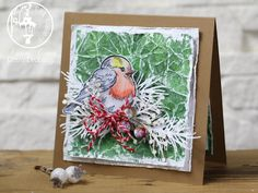 winter christmas card, bird, Stampendous Winter Tweets stamp