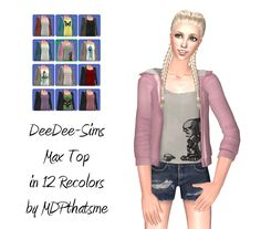THIS IS FOR SIMS 2. Basically just recolors of @deedee-sims's conversion of Max's Top. This is for AF. Comes in 12 colors pictured above. Mesh is included. DOWNLOAD (SFS) Happy simming!
