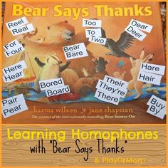"""Learning Homophones with """"Bear Says Thanks"""""""