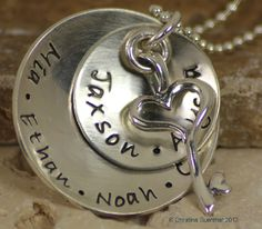 Key to My Heart necklace. Personalized sterling silver necklace.
