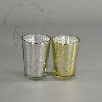 """3.2"""" Tall Mercury Glass Antique Finish Tapered Votive Candle Holder"""