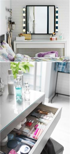 A dressing table with a drawer (a drawer neatly organized by GODMORGON boxes that is) makes a convenient place to sit and get ready for your day.