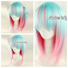 Fashion Anime Cosplay Wig Blau&Rosa Lolita Harajuku Haar Party Hitzefest Perücke
