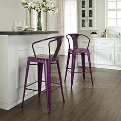 Crosley Furniture Amelia Cafe Bar Stools in Purple - Set of 2