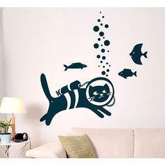 Cat Scuba Diver Vinyl Sticker Wall Art | Overstock.com Shopping - The Best Deals on Wall Decals