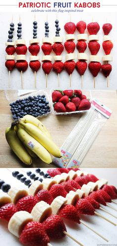 4th of July Patriotic Fruit Kabobs via @sheenatatum