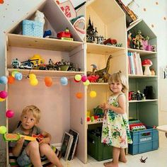 I'm so in love with these doll house bookcases and house inspired themes! ♡