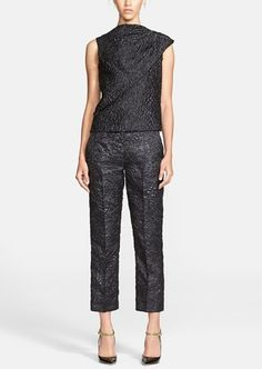This outfit! Adore the shiny raised paisley texture on this Erdem jacquard shell and pants.
