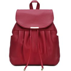 Yoins Leather-look Backpack in Red ($35) ❤ liked on Polyvore featuring bags, backpacks, yoins, red, vegan backpack, drawstring backpacks, draw string backpack, backpack bags and drawstring backpack bag