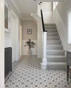 Tiled Hallway, Hallway Carpet, Hallway Wall Decor, Stair Decor, Carpet Stairs, Hallway Decorating, Hallway Ideas, Grey And White Hallway, 1930s House Renovation