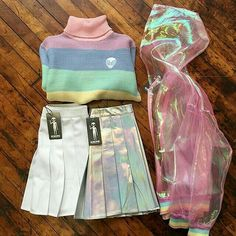 Want to see it on a person! Where do I get that pastel chiffon j… Perfect Outfit! Want to see it on a person! Where do I get that pastel chiffon jacket or that rainbow sweater? Harajuku Fashion, Kawaii Fashion, Cute Fashion, Look Fashion, 90s Fashion, Korean Fashion, Fashion Outfits, Space Fashion, Harajuku Style