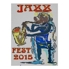 Jazz Fest 2015 Abstract Sax Player poster