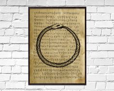 Uroboros old poster, Symbolic wall decor, Circle dictionary print, Snake print, ancient book page ar Book Page Art, Book Pages, Ancient Book, Sacred Meaning, How To Age Paper, Dragon Print, Book Wall, Moon Print, Printed Pages