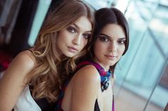 Gigi Hadid and Kendall Jenner backstage at DVF during NYFW.
