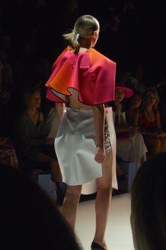 Yousef Akbar Spring / Summer 2015 Mercedes Benz Fashion Week Australia #Fashion #Fashionweek #summer #drape #theinnovators #womenswear #sculptural #construction #plastic