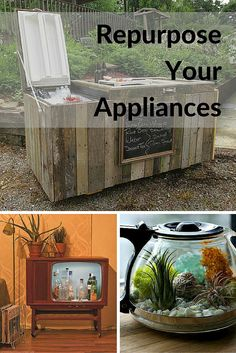 If your old appliances stop working you can upcycle and repurpose them instead of throwing them in the landfill. Unusual ideas here.