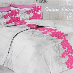 Sateen Duvet Cover Set Nature – Delicate but bright pink floral dosing is contrasting with a marble-like grey background. Silky smooth texture of natural cotton Turkish sateen. Duvet Sets, Duvet Cover Sets, Gray Background, Home Textile, Bright Pink, Bed Sheets, Pillow Cases, Modern Design, Bedding