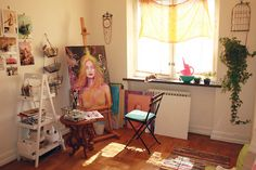 This is doable..right? An art studio with minimal stuff in a small room.