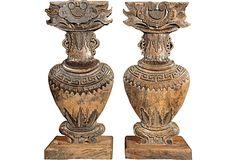Antique Wood Vase Carvings, Pair