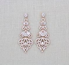 Crystal Wedding earrings, Rose Gold Bridal earrings, Bridal jewelry, Wedding jewelry, Swarovski earrings, Rose Gold jewelry, Art Deco style by treasures570 on Etsy https://www.etsy.com/listing/252186469/crystal-wedding-earrings-rose-gold
