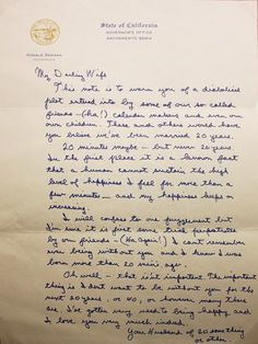In 1952, Ronald Reagan and Nancy Davis married. In 1972, prior to their 20th anniversary, Reagan - then Governor of California - wrote the following letter to his wife. love