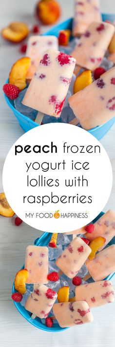 Say hello to summer with these flavourful Peach Frozen Yogurt Ice Lollies with Raspberries! Super refreshing and completely natural treat, without any added sugar, just 4 ingredients needed! Mini Desserts, Frozen Desserts, Frozen Treats, Just Desserts, Healthy Treats, Healthy Desserts, Delicious Desserts, Yummy Food, Healthy Foods