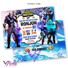 Fortnite Invitation Season 11 with Custom Face and Free Thank you card! Digital Files will be delivered within or less! FREE Thank you card included! Digital Invitations, Birthday Invitations, Minecraft Invitations, Laser Paper, Free Thank You Cards, Types Of Printer, File Format, Text Messages, Your Cards