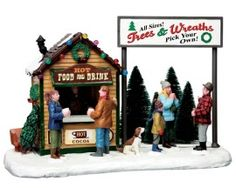 Lemax Village Collection Trees & Wreath Lot # 63282