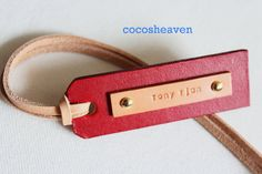 Custom Leather Luggage Tag - (1 Tag)  - Tan & Red - Perfect Gift for Birthday, Wedding or Anniversary