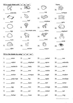 A or An worksheet – Free ESL printable worksheets made by teachers – Grammar English For Students, English Grammar For Kids, Learning English For Kids, Teaching English Grammar, English Lessons For Kids, Grammar Lessons, Kids English, Spanish Lessons, Teaching Spanish