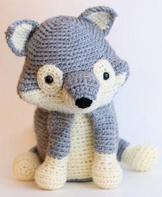 Large Grey Crochet  Wolf