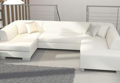 Canapé Dangle Gris Et Blanc En Tissu BALI Canapés Dangle - Canape angle blanc