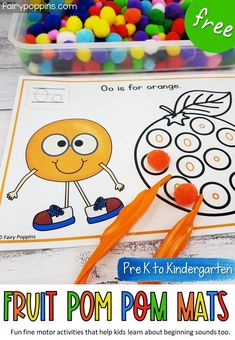 These FREE fruit pom pom mats help develop kids fine motor skills and awareness of beginning sounds. They can also be used to discuss colors. #pompommats #finemotoractivities #finemotor #beginningsounds #initialsounds #fruit #alphabet #fruitactivities #prek #preschool #kindergarten #literacy Educational Activities For Toddlers, Motor Skills Activities, Preschool Learning Activities, Hands On Activities, Fine Motor Skills, Kids Learning, Health Activities, Alphabet Activities, Preschool Kindergarten