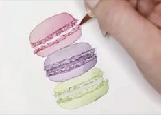 Learn how to paint this cute macaron stack using watercolor. Watercolor Video, Watercolor Fruit, Watercolor Sketchbook, Watercolor Illustration, Watercolour Painting, Watercolors, Watercolor Art Lessons, Watercolor Projects, Watercolor Flowers Tutorial