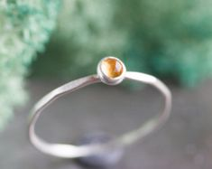 Citrine ring - skinny silver stackable ring with golden citrine faceted gemstone, November birthstone, sterling silver, gold Silver Stacking Rings, Silver Rings Handmade, Stackable Rings, Sterling Silver Rings, Silver Jewelry, Silver Earrings, Jewlery, Citrine Ring, Citrine Gemstone