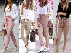 Bow pants and high waisted pants styling ideas – Just Trendy Girls Beautiful Entry Table Decor Ideas to give some inspiration on updating your house Business Casual Outfits, Classy Outfits, Stylish Outfits, Cute Outfits, Fashion Outfits, Paperbag Hose, Paperbag Pants, Matching Outfits, Streetwear Fashion