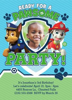 Paw Patrol - Pawsome Party Invite